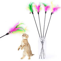 Pet cat toy cute bird feather teaser wand plastic toy with bell for cats S&K