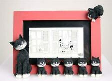 """""""Cats In A Line"""" Red Sculpture Picture Frame Mom & Baby Kittens Albert Dubout"""