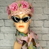Vintage 1960's Pink Rose Millinery Floral Birdcage Pillbox Hat Union Label LUXE