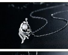 Sterling Silver Cubic Zirconia Freshwater Pearl Peacock Pendant Necklace Box PE1
