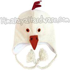 Knit Wool White Chicken Beanie Hat: ear flap winter animal bird rooster adult