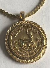 "NEW Beautiful Replica 1980 KRUGERRAND Gold Coin Pendant Necklace 20"" Chain BLING"
