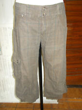 Pantalon court PANTACOURT coton marron rayé MISS CAPTAIN  38 multi poches 18PQ8
