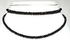 925 Sterling Silver Necklace Natural Black Spinel 4 mm Round Faceted Beads GF221