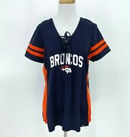 Denver Broncos Shirt Women Size L Navy Blue w/ Orange V-Neck NFL Football New