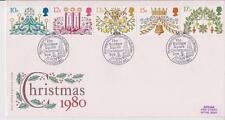 GB FDC 1980 Navidad conjunto de sello Trafalgar Sq. PMK Benham Pegatina