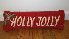 New Chandler 4 Corners Holly Jolly Hooked Wool Christmas Lumbar Pillow L. Megroz