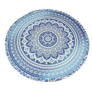 72' OMBRE MANDALA TAPESTRY YOGA BEACH MAT FLORAL HOME DECOR 100% COTTON ROUNDIE