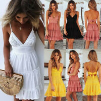 Women Sexy Sleeveless Lace Boho Floral Mini Dress Ladies Summer Sundress Holiday