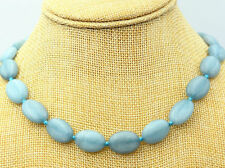 New 13x18mm natural aquamarine Flat Oval Gemstone Beads Necklace 22 ""