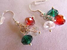 CINCO DE MAYO, RED WHITE GREEN CRYSTAL EARRINGS,  HOLIDAY, MEXICO FLAG