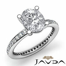 Oval Diamond Pre-Set Eternity Style Engagement Ring GIA I VS2 Platinum 1.5 ct