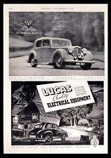 ALVIS FOURTEEN CAR - LUCAS ELECTRICAL EQUIPMENT 1949 BRITISH ADVERT