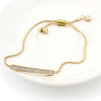 Gold/Silver Plated Crystal Pave Bar Slider Adjustable Drawstring Bangle Bracelet