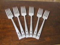 Oneida CORONATION 6 Salad Forks Community Vintage Silverplate Flatware Lot C
