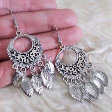 Vintage Womens Bohemian Antique-Silver-Black Charm Leaves Dangle Hook Earrings