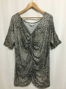 Autograph Plus Size 16/18-20 Top Shirt Tunic Stretch Viscose Short Sleeve As New