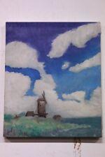 Quadro dipinto olio su tela raffigurante paesaggio mulino XX sec. painting oil