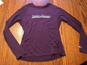 Under Armour Heatgear Womens  Purple Long Sleeve Shirt-Size Small-NICE