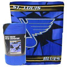 "St Louis Blues Cracked Ice Large 50""x60"" Lightweight Fleece Throw Blanket Hockey"