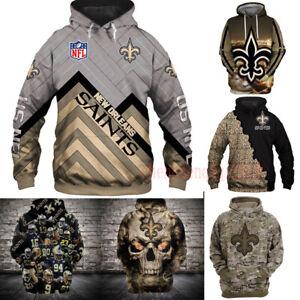 New Orleans Saints Hoodie Unisex Hooded Pullover Sweatshirt Casual Jacket Coat