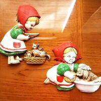 Vintage Homeco Wall Decor Hangings Little Girl Puppy Kitten 1977 Cute Red Green