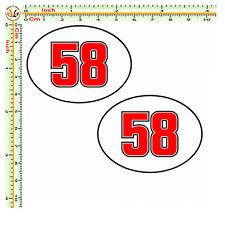 Marco simoncelli Adesivi 58 sticker cropped helmet auto moto casco tuning 2 pz.