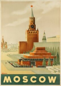 Moscow, 1930's, Reproduction Vintage Soviet Union Travel Russia Poster