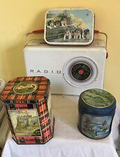 4 x  vintage  biscuit confectionary tins Bluebird radio etc lot 14