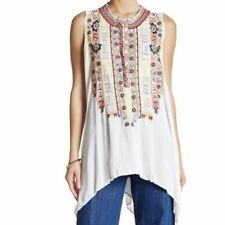 Johnny Was Medium Evvy Blouse Embroidered Sleeveless Long Tunic Top M
