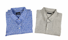 Lot of Two Zachary Prell Mens Short Sleeve Button Front Shirts Blue Gray Size XL