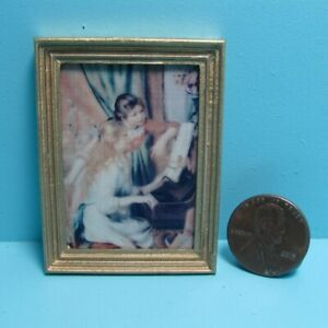 Dollhouse Miniature Wall Picture Piano Lessons with Gold Frame PF1103