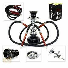 Hookah 2 Hose Pipe Smoking Shisha Tobacco Smoke Glass Vase Narghile Hooka Set