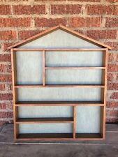 Vintage House Shaped SHADOW BOX PRIMITIVE DISPLAY CURIO SHELF Walnut 28.5 x 23
