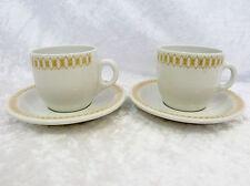 Bristile / Wembley ware - 2 Cups & Saucers  vgc  brown geometric pattern