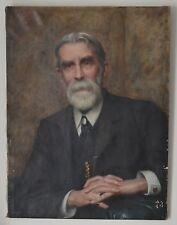 OLIO su tela ritratto presidente dell'associazione britannica Omeopatico firmato
