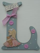 Girl Bear Personalised Wood Initial *ANY LETTER & NAME* kids Room sign plaque de
