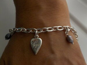 Wright & Teague Sterling Silver & Baroque Pearl Hope Heart Charm Bracelet