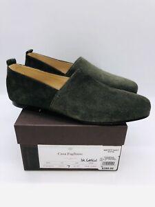 Casa Fagliano Men's Alpargata Slip On Loafers - Dark Green Suede EUR 40 / US 7