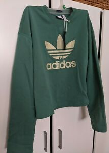 ADIDAS ORIGINALS LARGE GREEN TREFOIL Crewneck SWEATSHIRT NWT TOP
