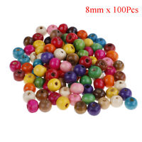100Pcs mixed color round beads makeing necklace DIY kids crafts wood beads 8mTw
