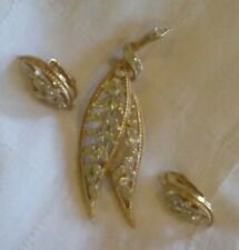 Kramer Rhinestone Earrings & Brooch/Pin Set. Leaf Design. Clip-ons.
