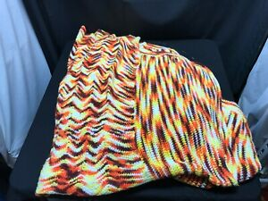 Vintage Afghan Yellow Brown White Orange See Pictures Larger Throw