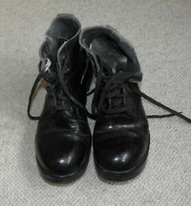 Black leather hobnail army ammo boots