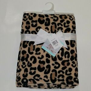 NEW Baby Gear Leopard Print Fleece Baby Blanket Lovey Brown Cheetah Girl Gift