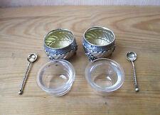 Muy bonito par de salero azucarero antiguos plata maciza cristal y su cucharas