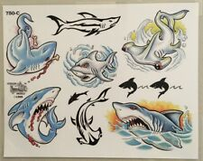 Tattoo Studio Shop Flash Single Sheet Sharks Jaws Fish Great White 11 X 14 Print