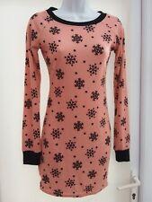 BNWT - BOOHOO  WOMENS  - DUSKY PINK/BLACK PATTERNED  DRESS - SIZE 10