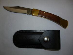 RAZOR BLADES LIMITED EDITION GOLDEN ELM STOCKMAN LOCK BACK POCKET HUNTING KNIFE