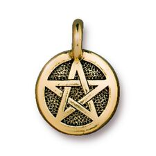TierraCast Pentagram Charm, Antiqued Gold Plated Lead Free Pewter (T386)